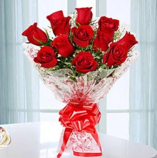 11 adet kırmızı gülden görsel şık buket  Online Ankara Sincan çiçekçiler