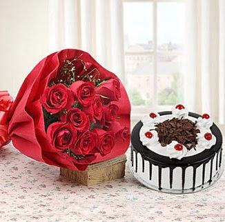 12 adet kırmızı gül 4 kişilik yaş pasta  sincan çiçekçi Ankara Sincan internetten çiçek satışı