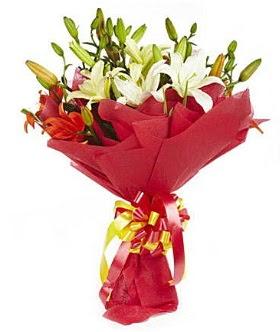 5 dal kazanlanka lilyum buketi  Ankara Sincan çiçek , çiçekçi , çiçekçilik