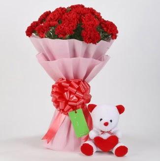 19 kırmızı karanfil buketi 15 cm ayıcık  Ankara Sincan 14 şubat sevgililer günü çiçek