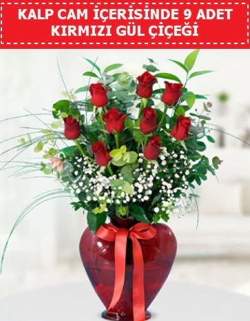 Kırmızı kalp camda 9 kırmızı gül  Ankara Sincan çiçek siparişi sitesi