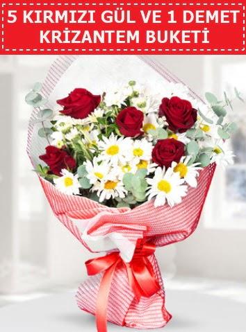 5 adet kırmızı gül ve krizantem buketi  Ankara Sincan çiçek siparişi sitesi