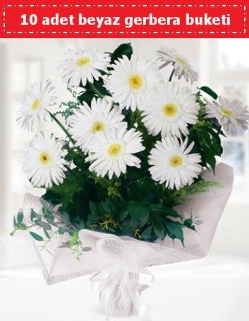 10 Adet beyaz gerbera buketi  sincan çiçekçi Ankara Sincan internetten çiçek satışı