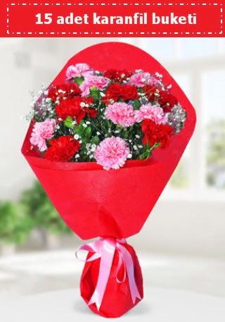 15 adet karanfilden hazırlanmış buket  Ankara Sincan çiçek online çiçek siparişi