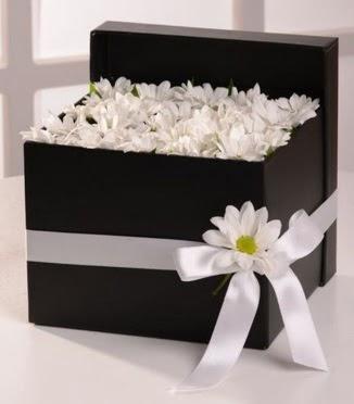 Kutuda beyaz krizantem papatya çiçekleri  Ankara Sincan online çiçek gönderme sipariş